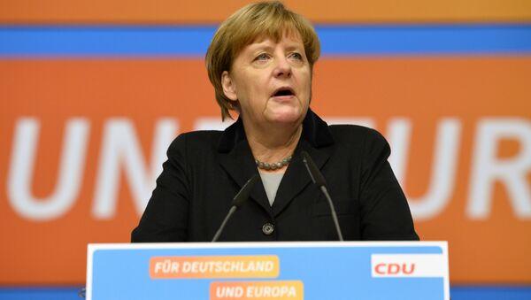 Kanclerz Niemiec Angela Merkel podczas zjazdu partii Unii Chrześcijańsko-Demokratycznej - Sputnik Polska