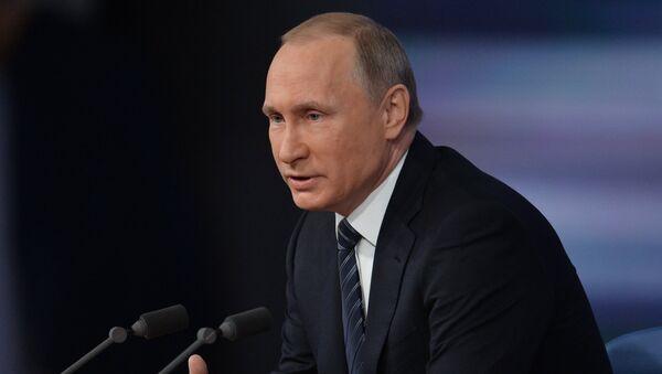 December 17, 2015. Russian President Vladimir Putin at the 11th annual news conference at the World Trade Center on Krasnaya Presnya - Sputnik Polska