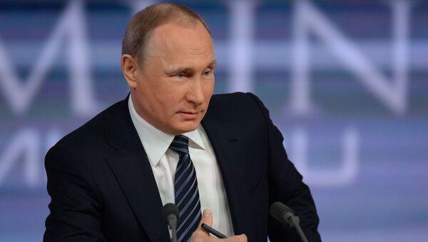 Prezydent Rosji Władimir Putin podczas konferencji prasowej - Sputnik Polska