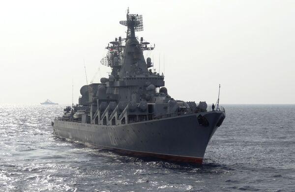 Rosyjski krążownik Moskwa na Morzu Śródziemnym - Sputnik Polska