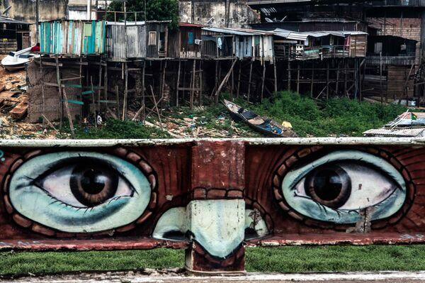 Graffiti nad rzeką Rio Negro, Brazylia - Sputnik Polska