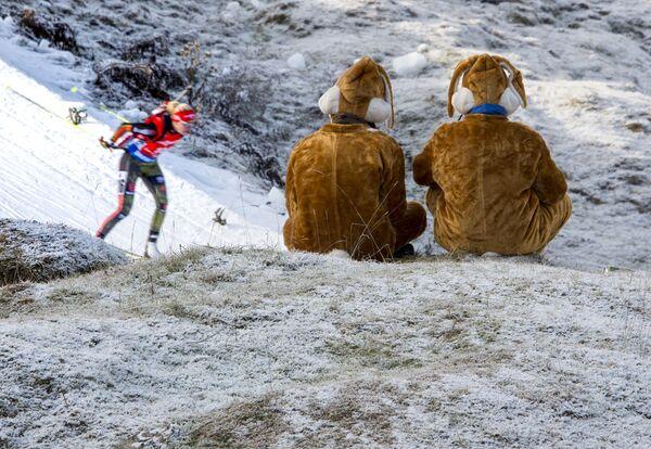 Niemieccy kibice podczas zawodów o Puchar Świata w biathlonie w austriackim mieście Hochfilzen - Sputnik Polska