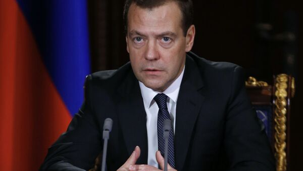 Premier Rosji Dmitrij Miedwiediew przeprowadził naradę z wicepremierami Rosji - Sputnik Polska