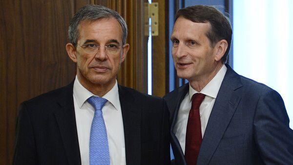 Współprzewodniczący stowarzyszenia Franko-Rosyjski Dialog Thierry Mariani i przewodniczący Dumy Państwowej Siergiej Naryszkin - Sputnik Polska