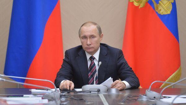 Prezydent Rosji Władimir Putin na spotkaniu z członkami rosyjskiego rządu w rezydencji Nowo-Ogariowo - Sputnik Polska