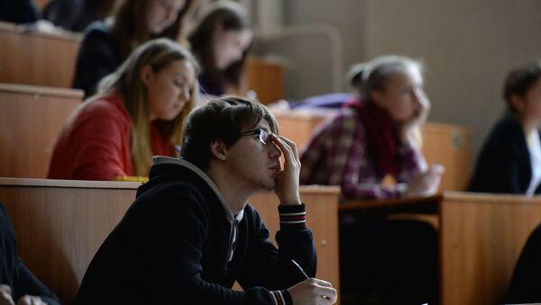 Uczestnicy Ogólnorosyjskiego dyktanda geograficznego w audytorium Nowosybirskiego Uniwersytetu Pedagogicznego - Sputnik Polska