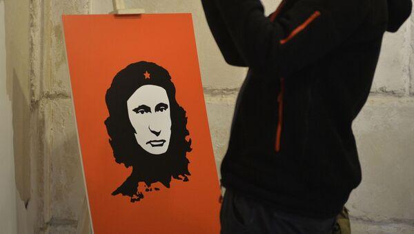 Władimid Putin jako Che Guevara na wystawie Putin Universe - Sputnik Polska