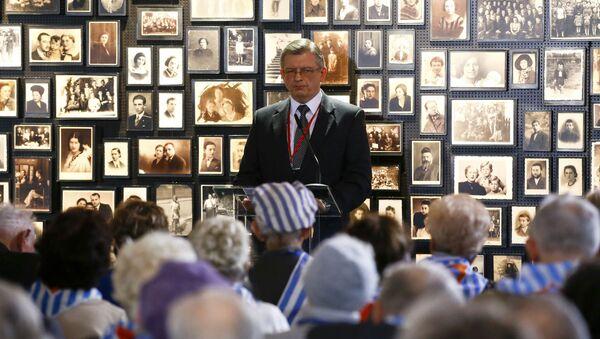 Ambasador Rosji w Polsce Siergiej Andriejew na uroczystości upamiętniającej 71. rocznicę wyzwolenia obozu śmierci w Oświęcimiu - Sputnik Polska