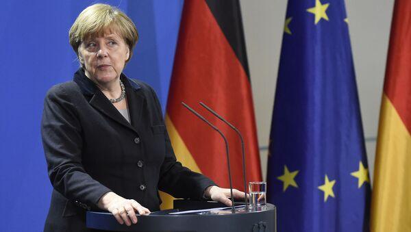 Kanclerz Niemiec Angela Merkel podczas konferencji prasowej w Berlinie - Sputnik Polska