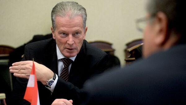 Wicekanclerz Austrii Reinhold Mitterlehner podczas rozmów w Moskwie - Sputnik Polska