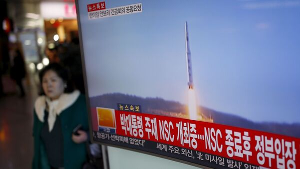 Start północnokoreańskiej rakiety dalekiego zasięgu - Sputnik Polska
