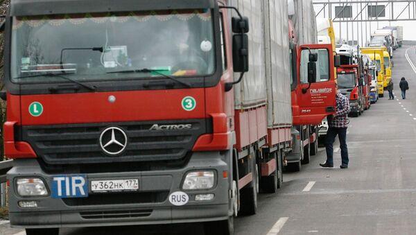 Blokada rosyjskich przewoźników drogowych na Ukrainie - Sputnik Polska