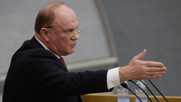 Lider Komunistycznej Partii Federacji Rosyjskiej Giennadij Ziuganow - Sputnik Polska