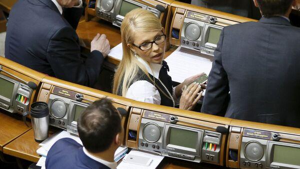 Julia Tymoszenko na posiedzeniu Rady Najwyższej Ukrainy w Kijowie - Sputnik Polska