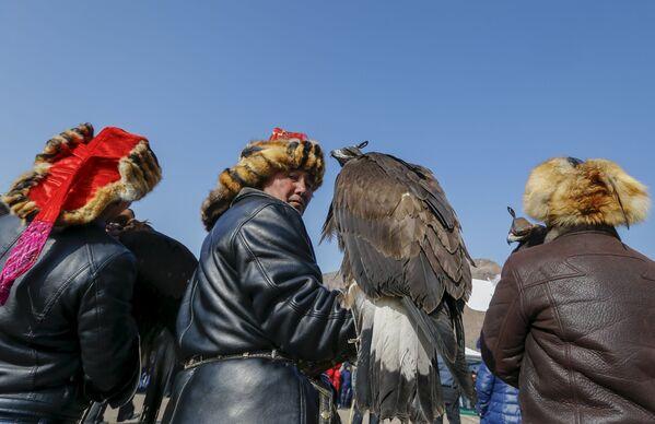 Myśliwi z berkutami podczas tradycyjnych zawodów myśliwskich w miejscowości Nura w Kazachstanie - Sputnik Polska