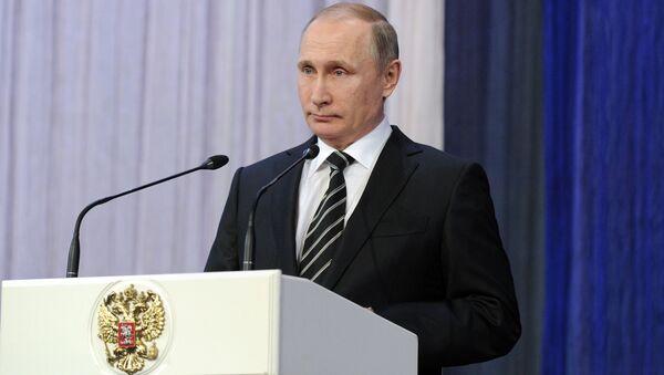 Prezydent Rosji Władimir Putin przemawia na uroczystym spotkaniu z okazji Dnia Obrońcy Ojczyzny - Sputnik Polska
