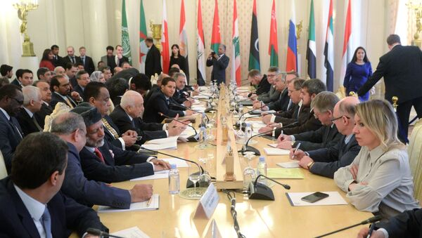 Sesja rosyjsko-arabskiego forum z udziałem szefa rosyjskiej dyplomacji Siergieja Ławrowa - Sputnik Polska