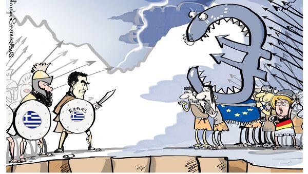 Wizyta premiera Grecji Aleksisa Tsiprasa w Rosji, karykatura - Sputnik Polska