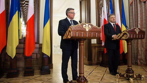 Spotkanie prezydenta Ukrainy Petra Poroszenki z prezydentem Polski Bronisławem Komorowskim - Sputnik Polska