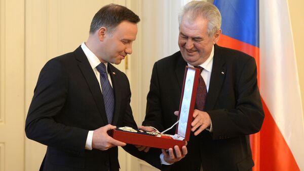 Prezydent Polski Andrzej Duda i prezydent Czech Milosz Zeman - Sputnik Polska