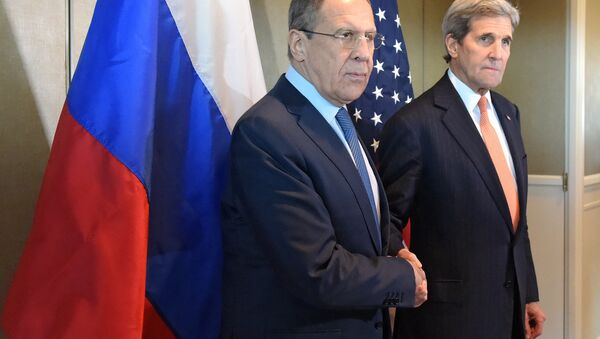 Minitser spraw zagranicznych Rosji Siergiej Ławrow i sekretarz stanu USA John Kerry - Sputnik Polska