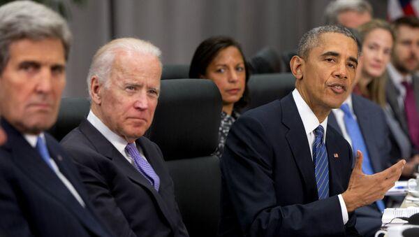 John Kerry, Joe Biden i Barack Obama na szczycie bezpieczeństwa nuklearnego w Waszyngtonie - Sputnik Polska