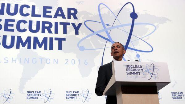 Prezydent Stanów Zjednoczonych Barack Obama  na szczycie bezpieczeństwa nuklearnego w Waszyngtonie - Sputnik Polska