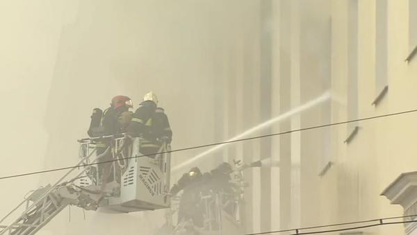 Pożar w budynku Ministerstwa Obrony Rosji w Moskwie - Sputnik Polska