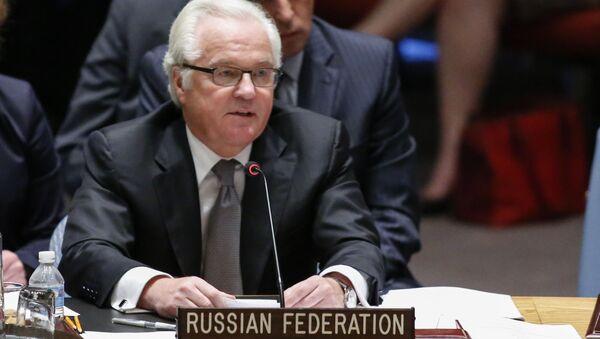 Stały przedstawiciel Rosji Witalij Czurkin na posiedzeniu Rady Bezpieczeństwa ONZ - Sputnik Polska