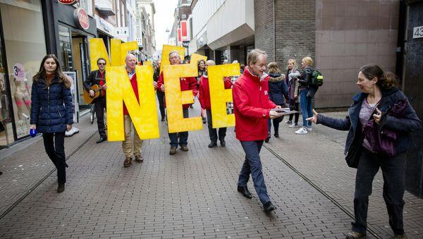 Protesty przeciwko umowie z Ukrainą w Hadze - Sputnik Polska