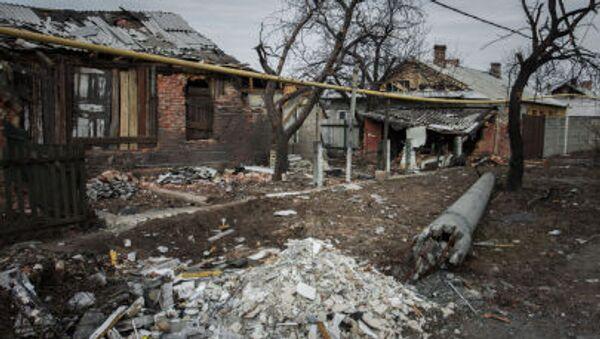 Zniszczona wioska Trudowskie w rejonie petrowskim obwodu donieckiego - Sputnik Polska