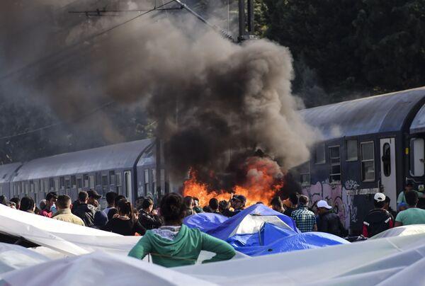 Pożar w obozie uchodźców w miejscowości Idomeni, Grecja - Sputnik Polska