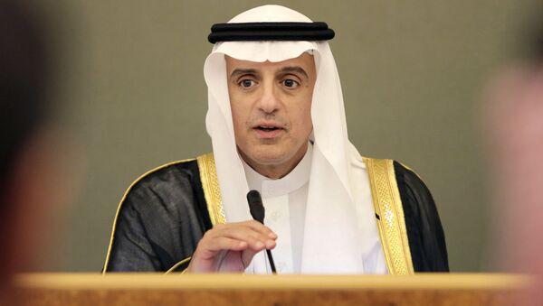 Minister spraw zagranicznych Arabii Saudyjskiej Adel al-Jubeir w czasie wystąpienia - Sputnik Polska