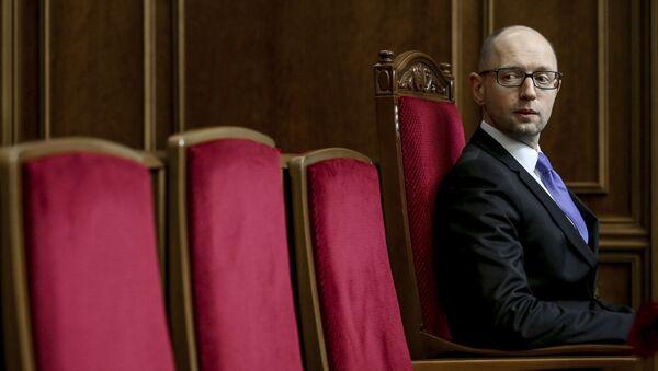 Premier Ukrainy Arsenij Jaceniuk na pierwszym posiedzeniu nowo wybranej Rady Najwyższej Ukrainy w Kijowie - Sputnik Polska
