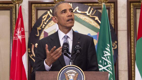 Prezydent USA Barack Obama po szczycie USA i Rady Współpracy Państw Arabskich Zatoki Perskiej w Rijadzie - Sputnik Polska