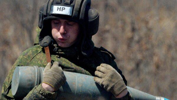 Pocisk do rosyjskiej samobieżnej haubicoarmaty 2S5 Hiacynt-S - Sputnik Polska