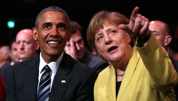 Prezydent USA Barack Obama i kanclerz Niemiec Angela Merkel w Hanowerze - Sputnik Polska