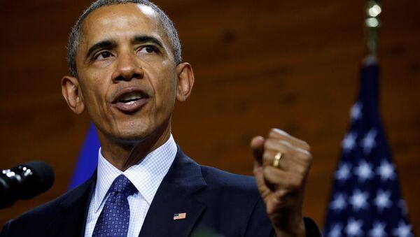 Prezydent USA Barack Obama podczas przemówienia w Hanowerze - Sputnik Polska