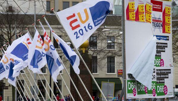 Flagi holenderskiego przedstawicielstwa w UE - Sputnik Polska