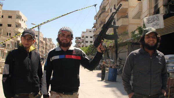 Punkt kontrolny Wolnej Armii Syrii w Damaszku - Sputnik Polska