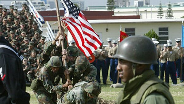 Miekszańcy Okinawy protestują przeciwko amerykańskiej bazy - Sputnik Polska