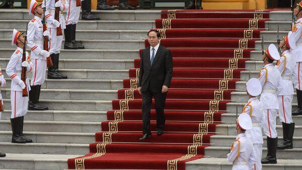 Prezydent Wietnamu Tran Dai Quang w czasie spotkania z prezydentem USA w pałacu prezydenckim w Hanowie - Sputnik Polska