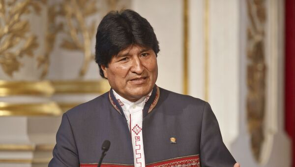 Bolivia's President Evo Morales gestures as he speaks to the media during a joint media conference with France's President Francois Hollande at the Elysee Palace in Paris - Sputnik Polska