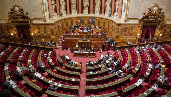Senatorowie podczas posiedzenia francuskiego Senatu - Sputnik Polska