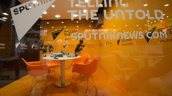 Stoisko agencji informacyjnej Sputnik na XX Międzynarodowym Forum Gospodarczym w Petersburgu 2016 - Sputnik Polska