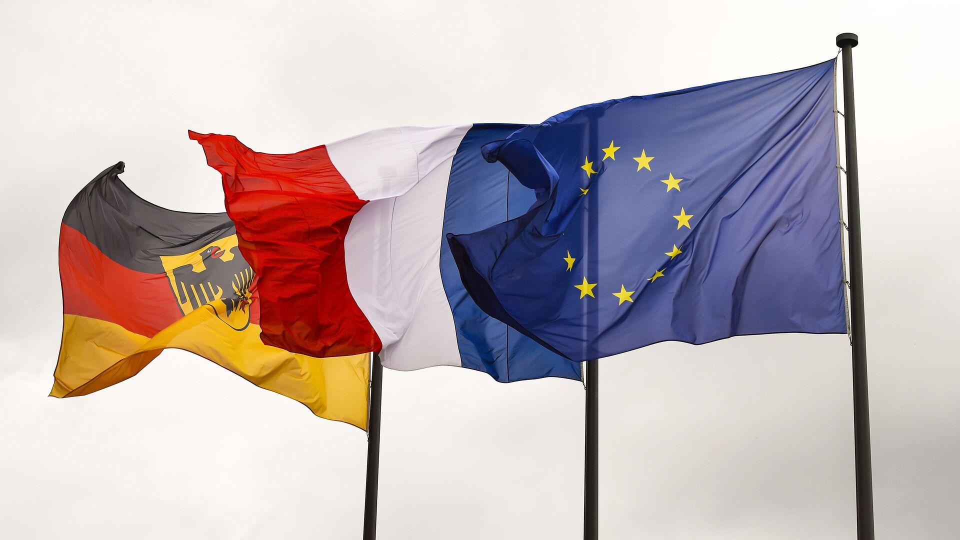 Flagi Niemiec, Francji i UE - Sputnik Polska, 1920, 09.10.2021