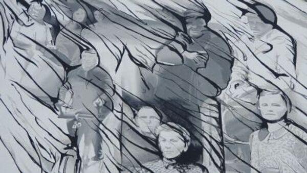 Graffiti upamiętniające ofiary rzezi wołyńskiej (Warszawa, ul. Młyniarska. Autor - Mikołaj Ostaszewski) - Sputnik Polska