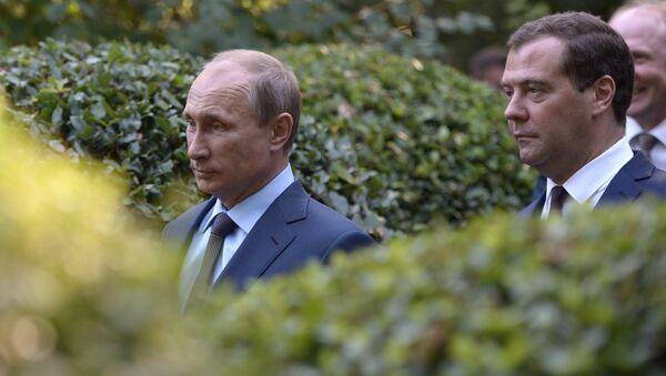 Prezydent Rosji Władimir Putin i Premier Rosji Dmitrij Miedwiediew. Krym. - Sputnik Polska