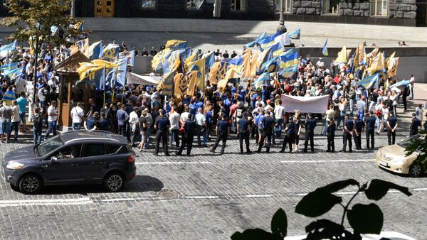 Protesty górników przed siedzibą ukraińskiego rządu w Kijowie - Sputnik Polska