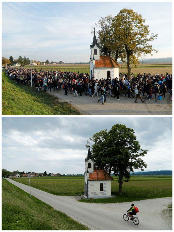 Emigranci w drodze do obozu przejściowego na Słowenii w październiku 2015 i to samo miejsce w maju 2016. - Sputnik Polska